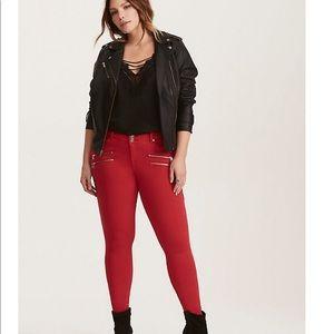 NWOT torrid zipper red jeggings